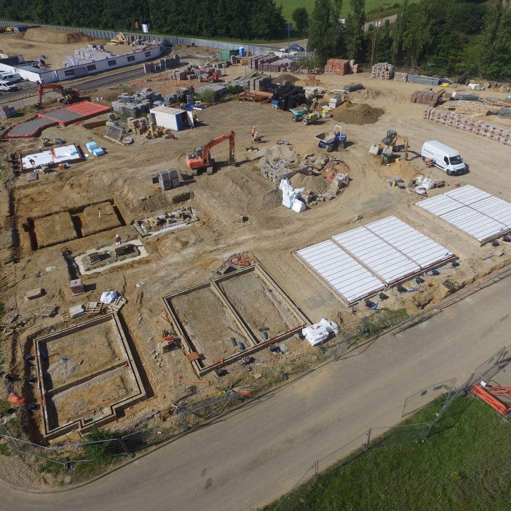 birds eye view on construction site using underslung thermal flooring