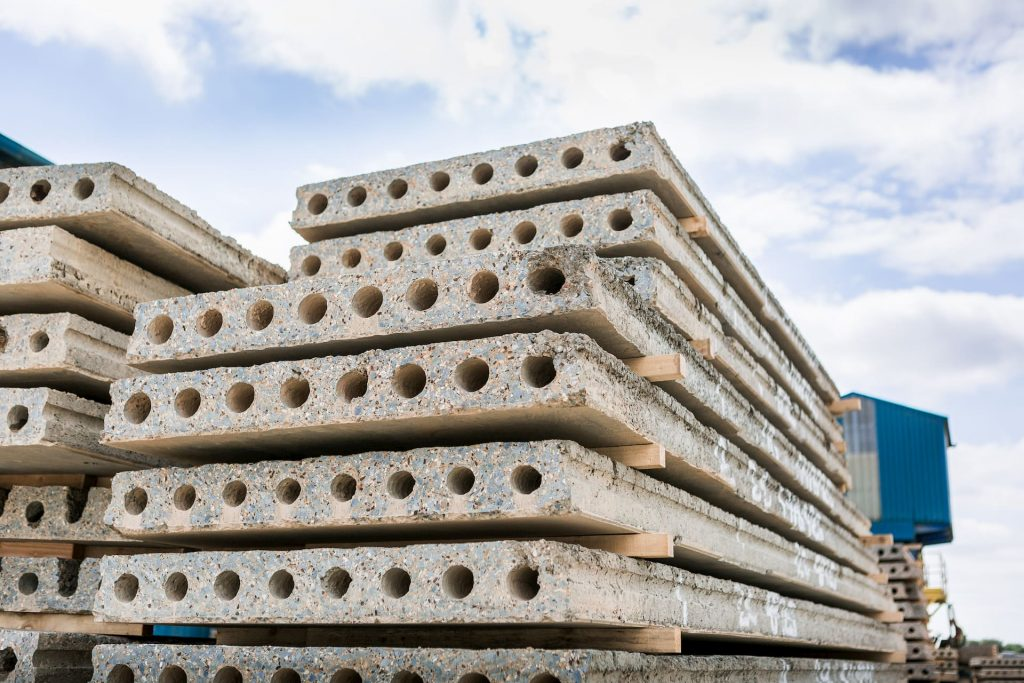 Hollowcoreplanks stacked up in Floorspan yard
