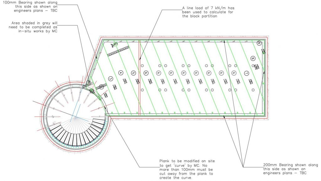 Design layout of hollowcore planks to span basement