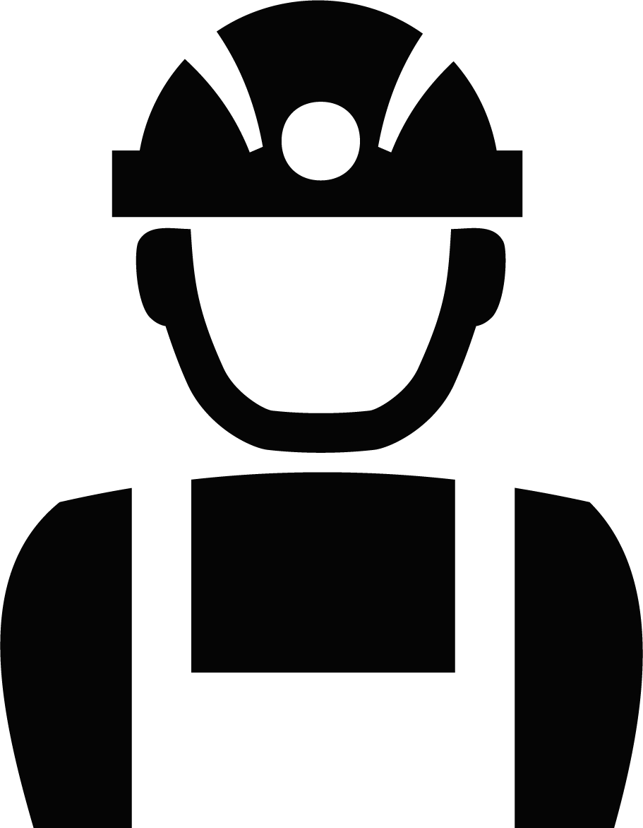 2D Graphic of worker with hard hat