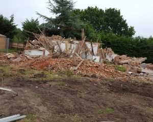 Rubble from recently demolished cottage
