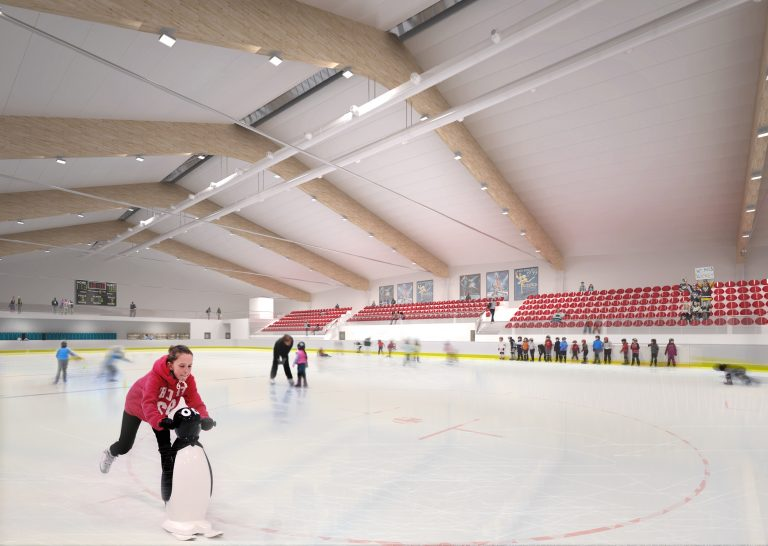 new commercial ice skating rink bring used by children learning to ice skate