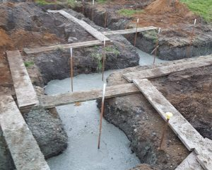 New dwelling footings dug with walkway planks