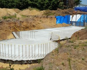Hollowcore concrete slab over basement ready for ground floor construction