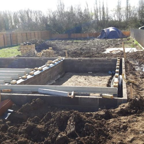 self build site before beams and block are installed