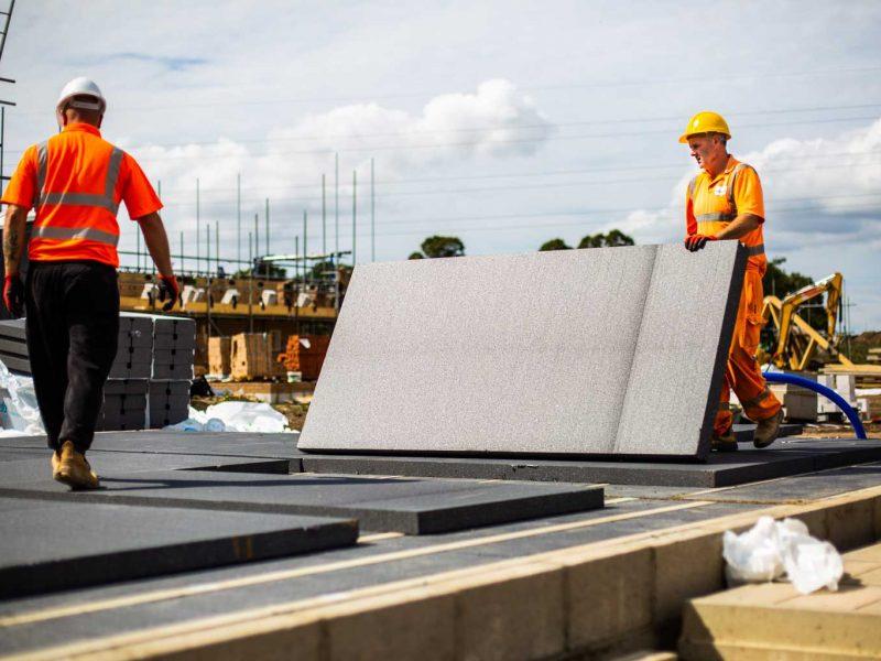 top sheet thermal flooring being installed