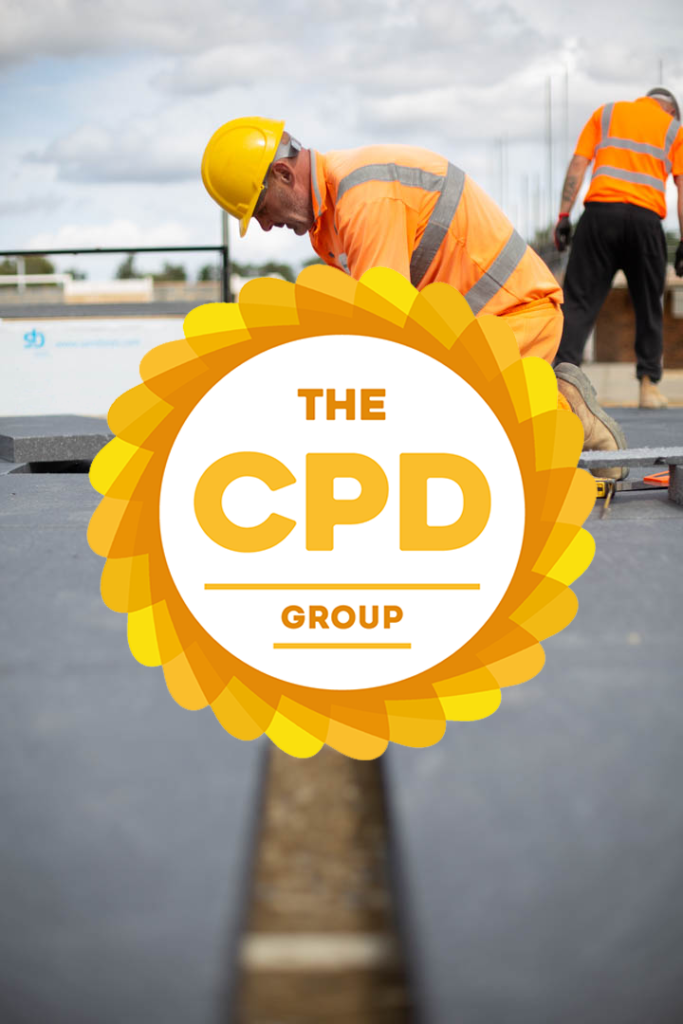 CPD approved logo with insulated concrete flooring installation in the background