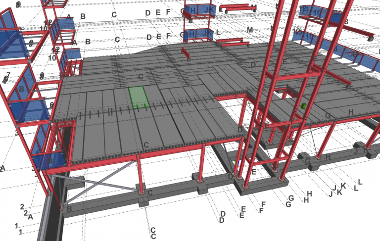 3D construction model of steel building with hollowcore planks